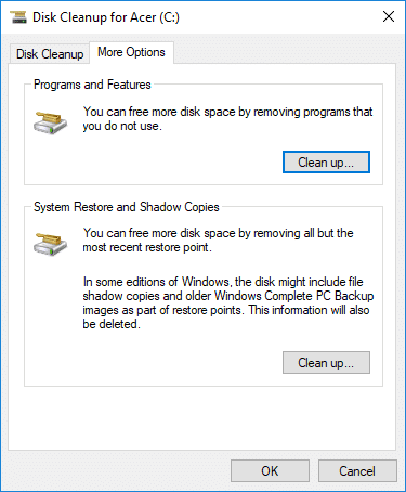 Under Program and Features click on Cleanup button | How to Use Disk Cleanup in Windows 10