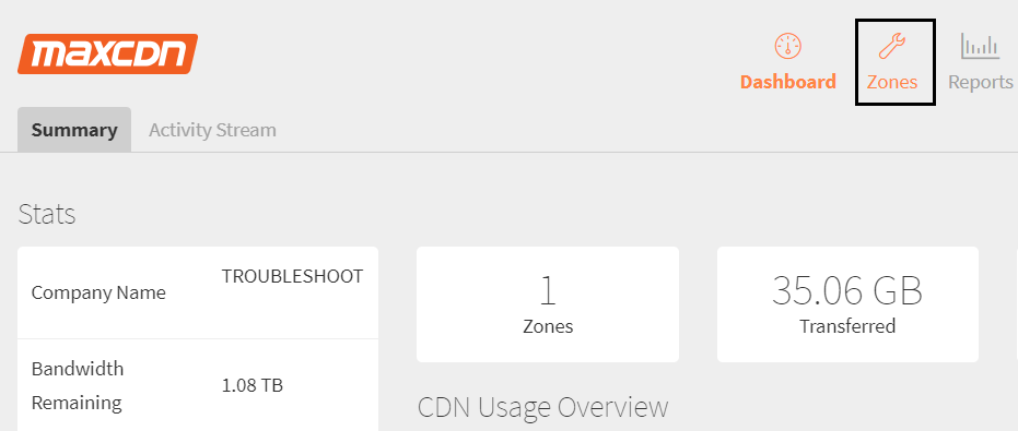 Once you see your MaxCDN dashboard click on Zones