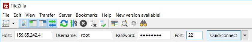 Open FileZilla then enter the details such as Host, Username, Password, & Port