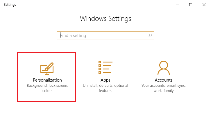 Open Windows Settings App then click on Personalization icon