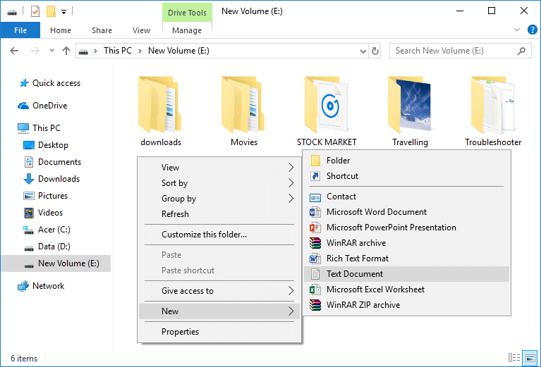 Right-click in an empty area inside the above drive and select New then Text Document