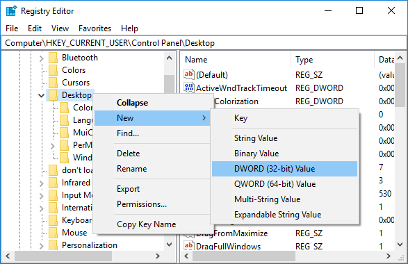 Right-click on Desktop then select New then select DWORD (32-bit) Value