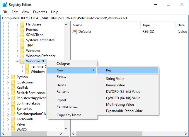 Right-click on Windows NT then select New then Key