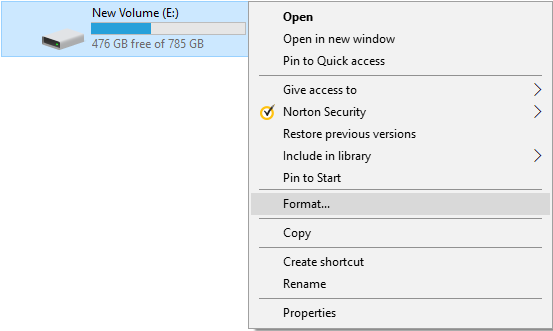 Right-click on any drive which you want to format and select Format | How to Format a Disk or Drive in Windows 10