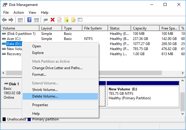 Right-click on each of its partition and select Delete Partition or Delete Volume