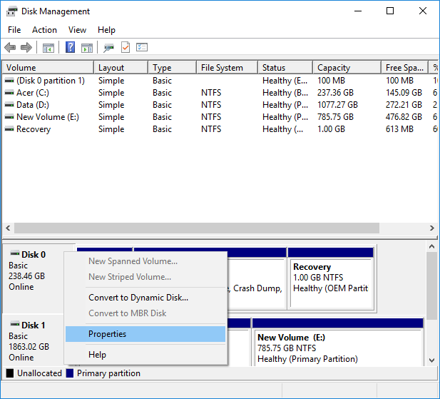 Right-click on the Disk you want to check and select Properties in Disk Management