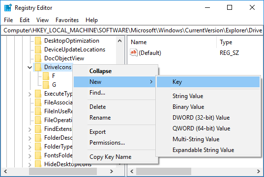 Right-click on the DriveIcons key then select New then Key