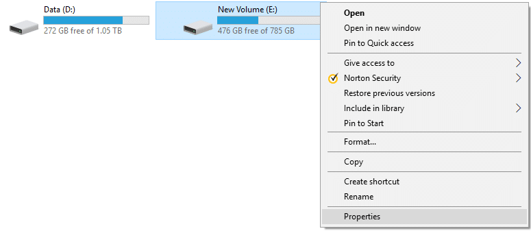 Right-click on the NTFS drive and then select Properties