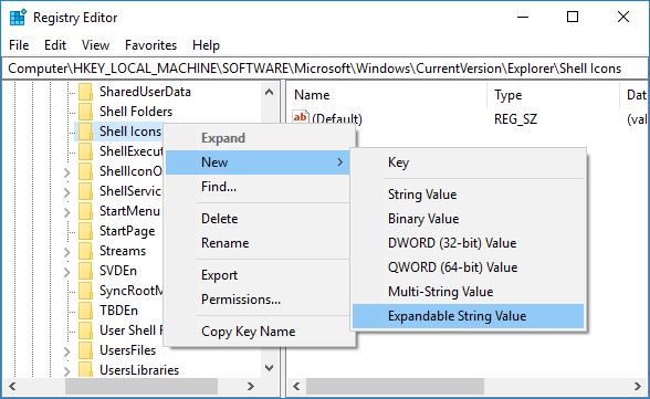 Right-click on the Shell Icons then select New then Expandable String value