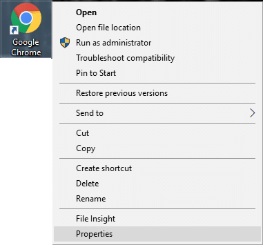 Right-click on the application executable file (.exe) and select Properties