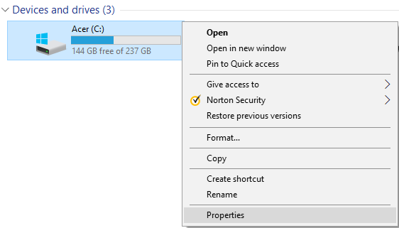Right-click on the drive you want to run Disk Cleanup for then select Properties
