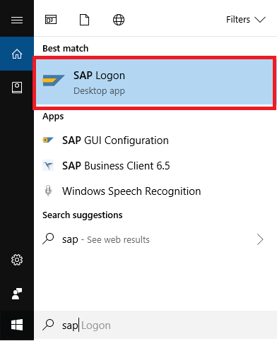 Search for SAP Logon in Start Menu and then click on it