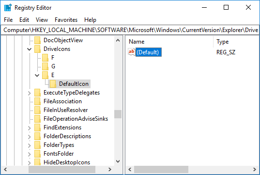 Select Defaulticon then in the right window pane double-click on the (Default) string