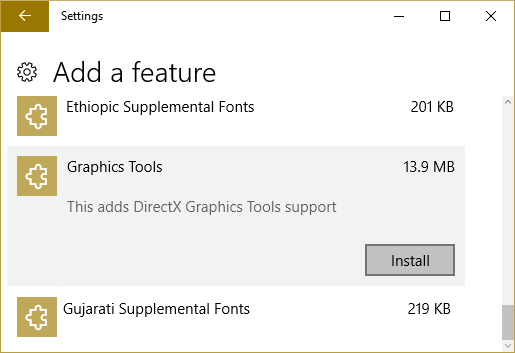 Select Graphics Tools and then click on Install button