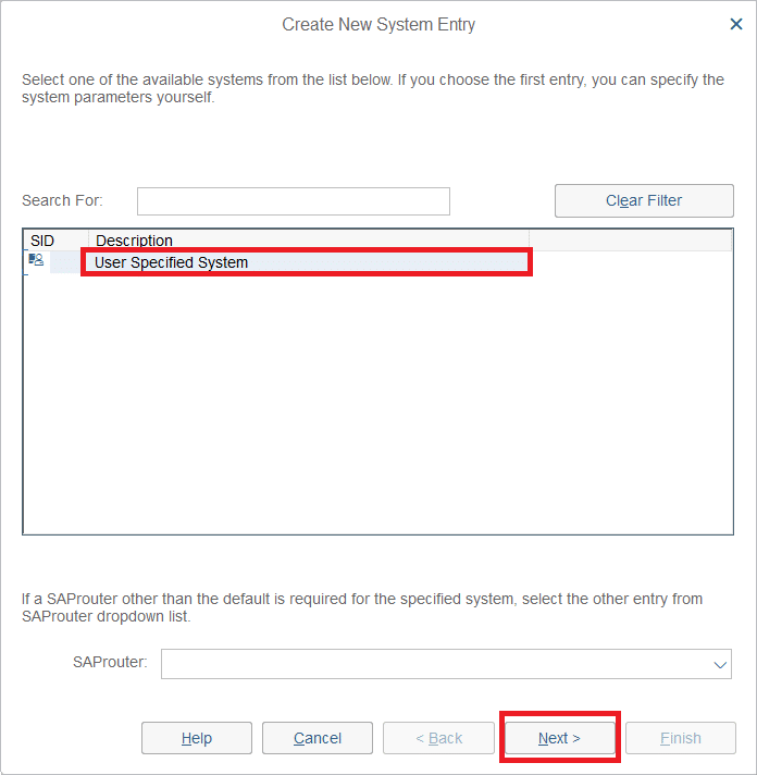 Select User Specified System and click Next