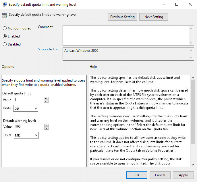 Set Default Disk Quota Limit and Warning Level in Group Policy Editor