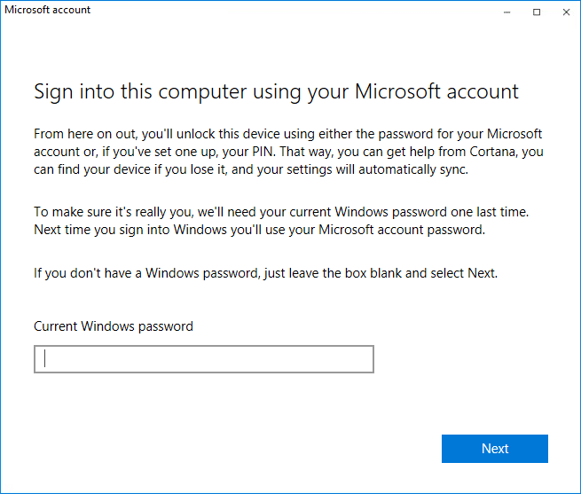 Sign into this computer using your Microsoft account