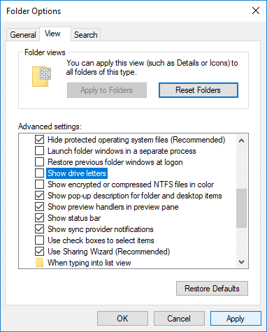 Switch to the View tab then uncheck Show drive letter