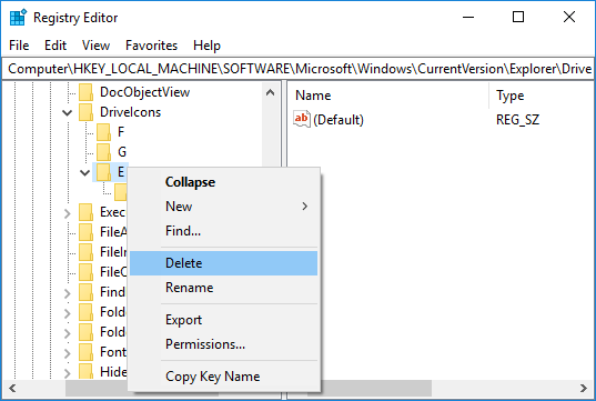 To Undo the Changes to Drive Icon simply right-click on the registry subkey and select Delete