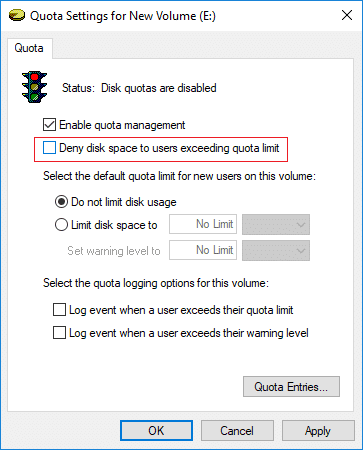 Uncheck Deny disk space to users exceeding quota limit