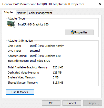 Under Adapter tab click on List All Modesbutton at the bottom | How to Change Monitor Refresh Rate in Windows 10