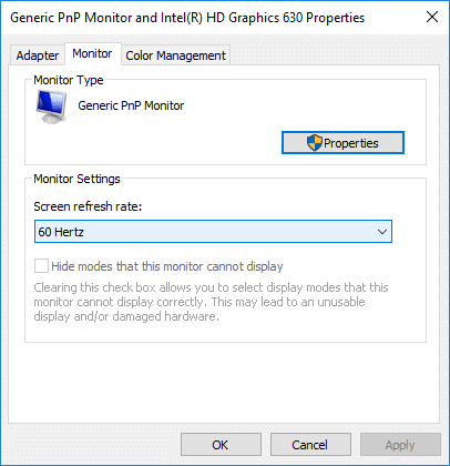 Under Monitor Settings select the Screen Refresh Rate from the drop-down