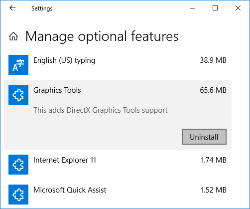 Under Optional features click on Graphics Tools then click on Uninstall button