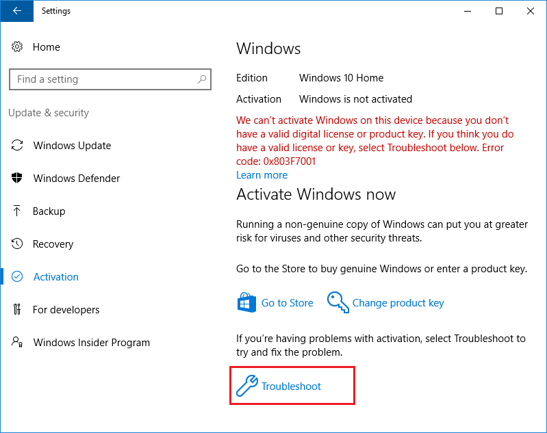 You will see this message Windows is not activated then click on Troubleshoot link