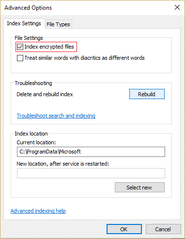 Checkmark Index encrypted filesbox under File Settings to enable Indexing of Encrypted Files