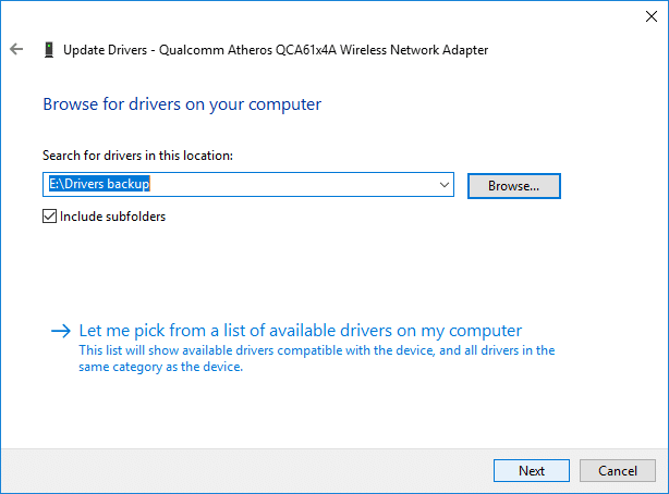 Checkmark Include subfolderthen click on Next   How to Backup and Restore Device Drivers in Windows 10