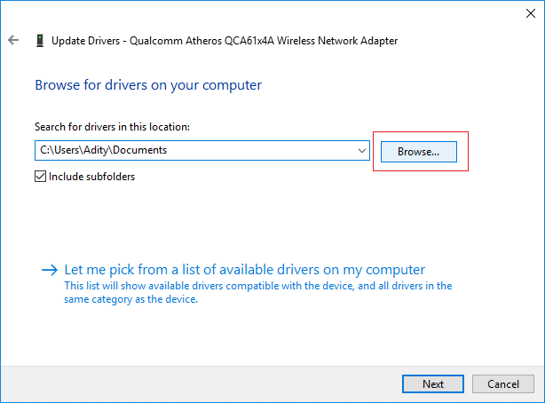 ClickBrowsethen navigate to the folder where you have the backup of the device drivers