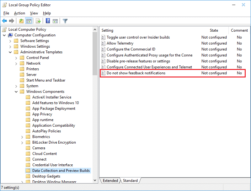 Double-click on Do not show feedback notificationspolicy in Gpedit
