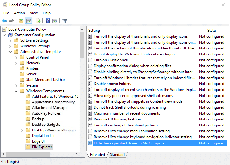 Double-click onHide these specified drives in My Computerpolicy