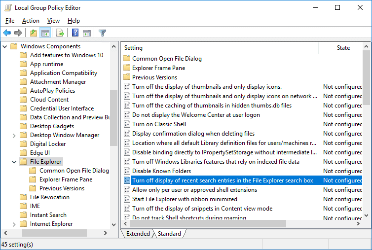 Double-click on Turn off display of recent search entries in the File Explorer search box