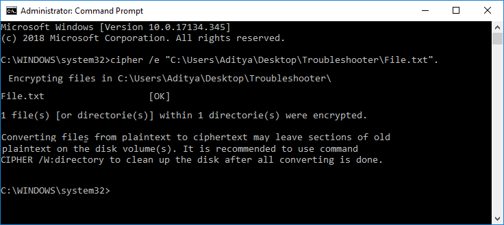 Encrypt Files and Folders with Encrypting File System (EFS) in Command Prompt