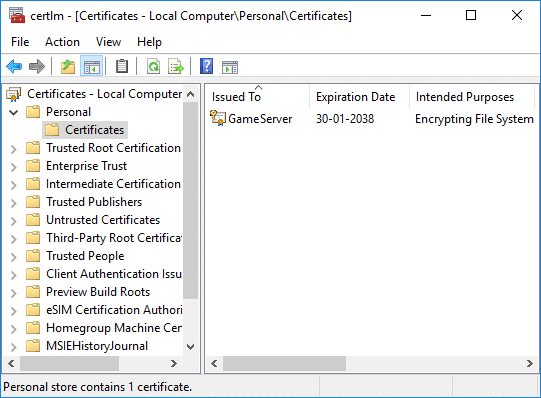 From the left-hand window pane, click on Personal to expand then select the Certificates folderFrom the left-hand window pane, click on Personal to expand then select the Certificates folder