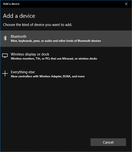 In the Add a device window click on Bluetooth