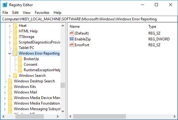 Navigate to Windows Error Reporting in Registry Editor