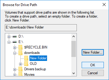 Navigate to the location where you want to hide your drive
