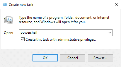 Open Elevated Windows PowerShell from Task Manager