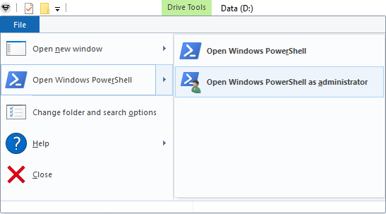 Open Elevated Windows PowerShell in File Explorer