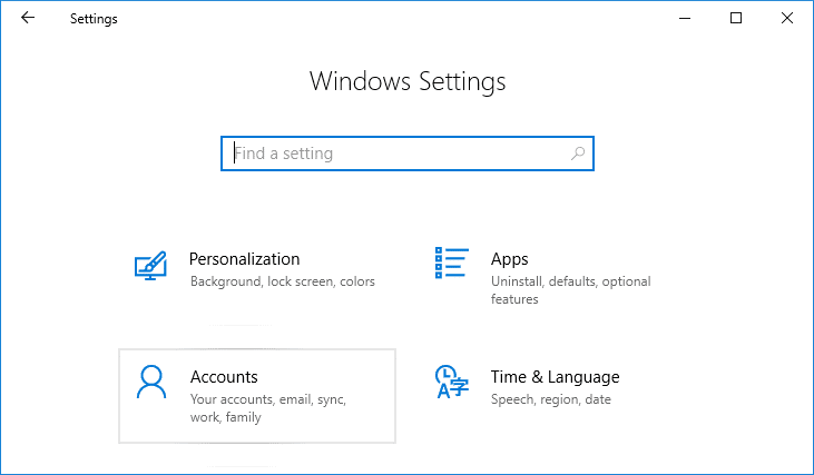 Press Windows Key + I to open Settings then click on Accounts | Hide Email Address on Windows 10 Login Screen