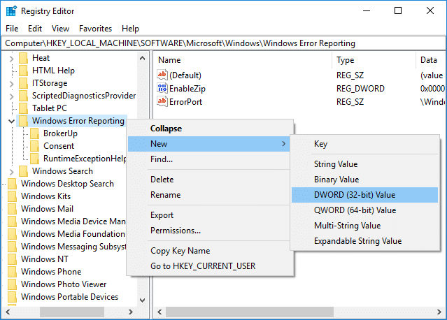 Right-click on Windows Error Reporting then select New then DWORD (32-bit) Value