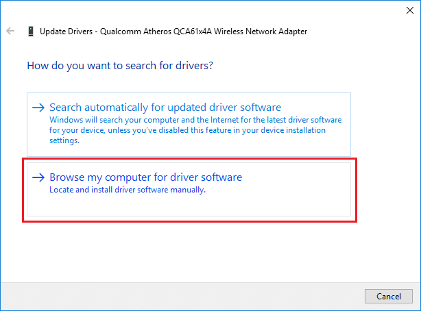 Select Browse my computer for driver software