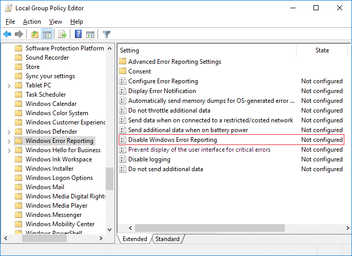 Select Windows Error Reporting then in right window pane double-click on Disable Windows Error Reporting policy