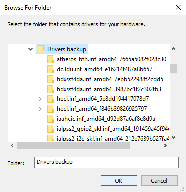 Select your backup driver's folder and click OK