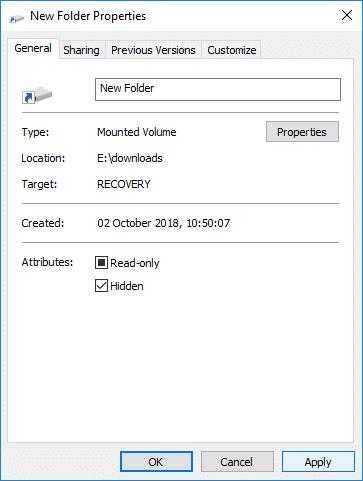 Switch toGeneral tab then under Attributes checkmark Hidden