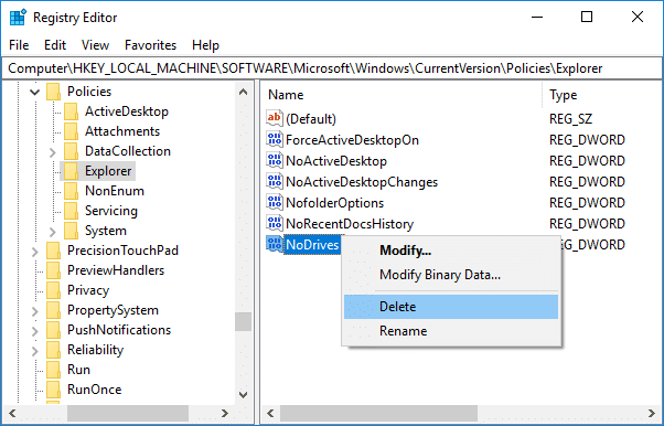 To unhide the drive simply right-click on the NoDrives & select Delete | How to Hide a Drive in Windows 10