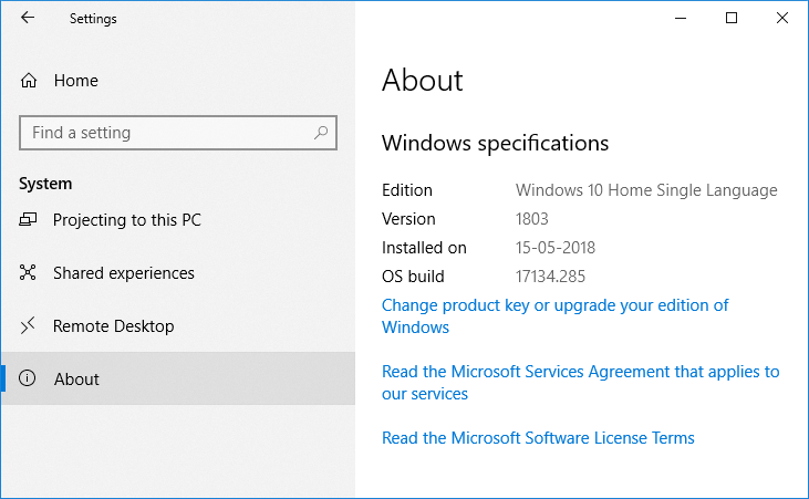 Under Windows specification, you will see the Edition, Version, Installed on, and OS buildinformation