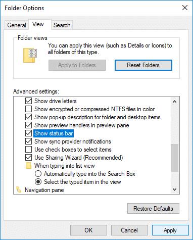 Checkmark 'Show Status bar' to Enable Status Bar in File Explorer in Windows 10